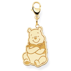 Gold-Plated Sterling Silver 3/4in Sitting Winnie the Pooh Charm