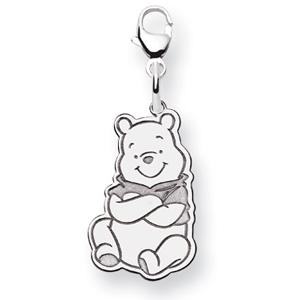 Sterling Silver 3/4in Sitting Winnie the Pooh Charm