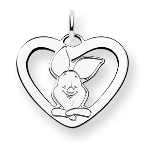 Sterling Silver 5/8in Piglet Heart Charm