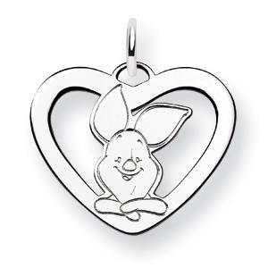 Sterling Silver 5/8in Piglet Heart Charm