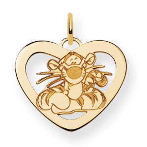 Gold-Plated 5/8in Tigger Heart Charm
