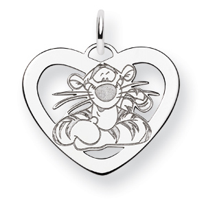 Sterling Silver 5/8in Tigger Heart Charm