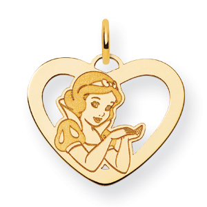 Gold-Plated Sterling Silver 5/8in Snow White Heart Charm