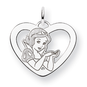 Sterling Silver 5/8in Snow White Heart Charm