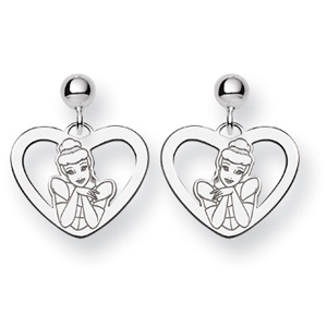 Sterling Silver Cinderella Heart Post Earrings