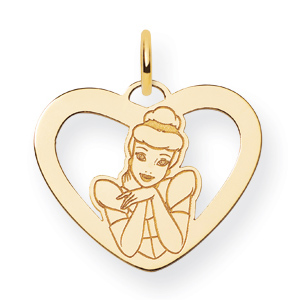 Cinderella Heart Charm 5/8in - Gold-Plated