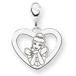 Cinderella Heart Charm 5/8in - Sterling Silver