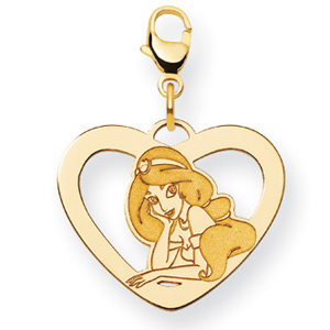 Jasmine Heart Charm 5/8in - Gold-Plated