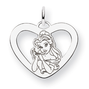 Belle Heart Charm 5/8in - 14k White Gold