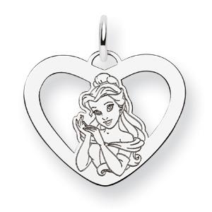 Belle Heart Charm 5/8in - Sterling Silver