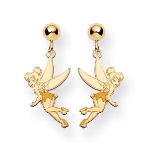 Gold-plated Sterling Silver Tinker Bell Post Dangle Earrings