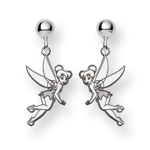 14kt White Gold Tinker Bell Post Dangle Earrings