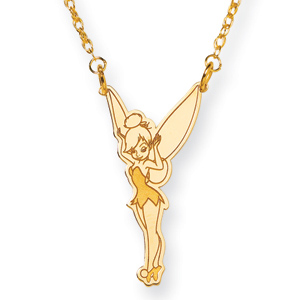 14kt Yellow Gold 1in Tinker Bell Pendant 18in Chain