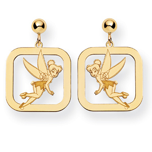 Tinker Bell Square Post Earrings - Gold-Plated