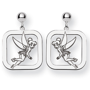 Tinker Bell Square Post Earrings - Sterling Silver