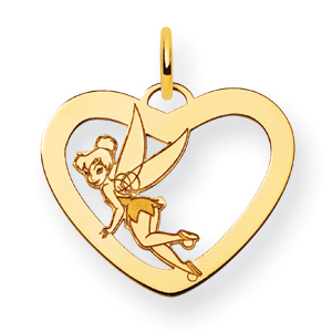 Tinker Bell Heart Charm 5/8in - Gold-Plated