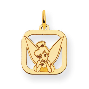 Tinker Bell Square Charm 1/2in - 14k Gold