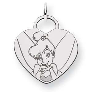 Tinker Bell Heart Charm 5/8in - Sterling Silver
