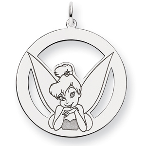 Tinker Bell Round Charm 1in - Sterling Silver