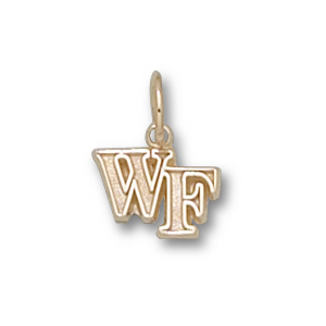 14kt Yellow Gold 1/4in Wake Forest University WF Pendant