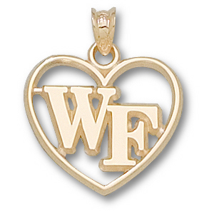 14kt Yellow Gold 5/8in Wake Forest Heart Pendant