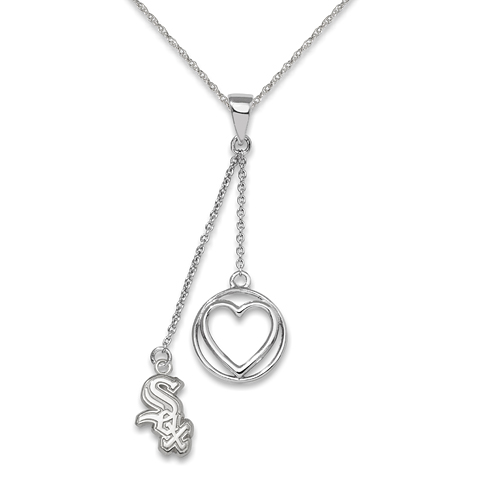 Sterling Silver Chicago White Sox Beloved Heart Necklace