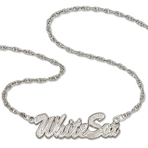 Sterling Silver 18in Chicago White Sox Script Necklace