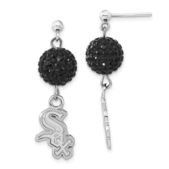 Chicago White Sox Crystal Ovation Earrings Sterling Silver