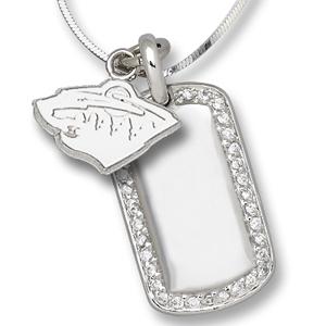 Sterling Silver Minnesota Wild Mini Dog Tag Necklace
