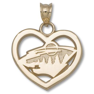 14kt Yellow Gold 5/8in Minnesota Wild Heart Pendant