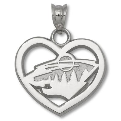 Sterling Silver 5/8in Minnesota Wild Heart Pendant
