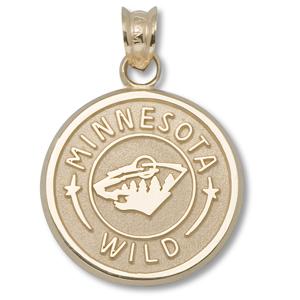 14kt Yellow Gold 5/8in Minnesota Wild Circle Pendant