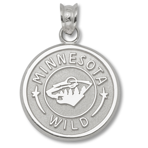 Sterling Silver 5/8in Minnesota Wild Circle Pendant