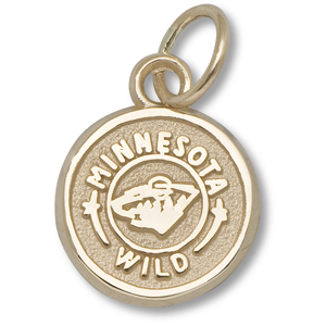 10kt Yellow Gold 3/8in Minnesota Wild Circle Charm