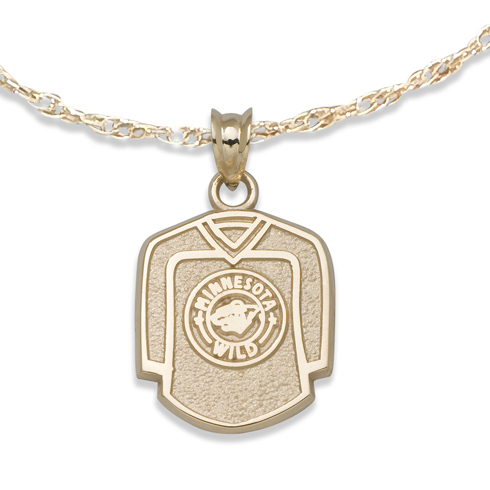 Minnesota Wild 5/8in Jersey on Chain 10kt Yellow Gold