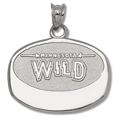 Sterling Silver 5/8in Minnesota Wild Puck Pendant