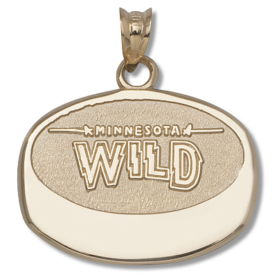 10kt Yellow Gold 5/8in Minnesota Wild Puck Pendant