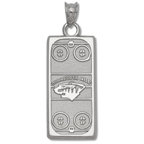 Sterling Silver 15/16in Minnesota Wild Rink Pendant
