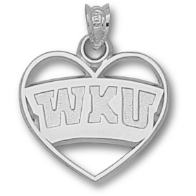 Sterling Silver 5/8in Western Kentucky Heart Pendant