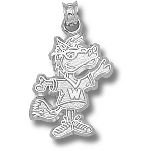 Western Michigan 7/8in Sterling Silver Buster Pendant