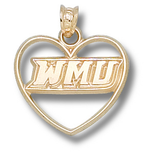 Western Michigan Broncos 5/8in 10k Heart Pendant