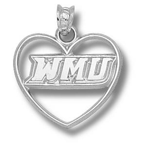 Sterling Silver 5/8in Western Michigan Heart Pendant