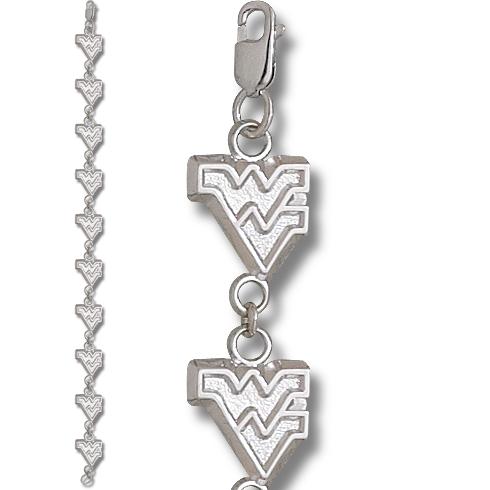West Virginia U 7 1/4in Bracelet Sterling Silver