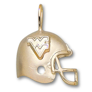 10kt Yellow Gold 3/4in West Virginia University Helmet Pendant