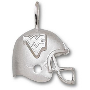 Sterling Silver 3/4in West Virginia University Helmet Pendant