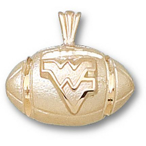 14kt Yellow Gold 1/2in West Virginia Football Pendant