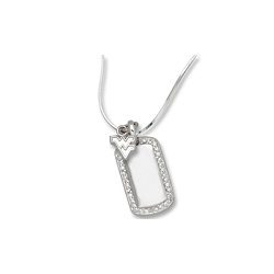 Sterling Silver West Virginia University Mini Dog Tag Necklace