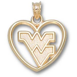14kt Gold 5/8in West Virginia University Heart Pendant