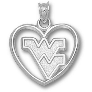Sterling Silver 5/8in West Virginia Heart Pendant