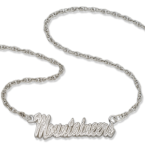 Sterling Silver 18in Mountaineers Script Necklace